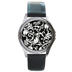 Vector Classical trAditional Black And White Floral Patterns Round Metal Watch