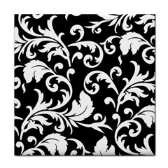 Vector Classical Traditional Black And White Floral Patterns Tile Coasters