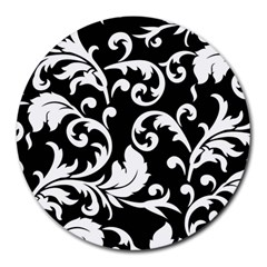 Vector Classical trAditional Black And White Floral Patterns Round Mousepads
