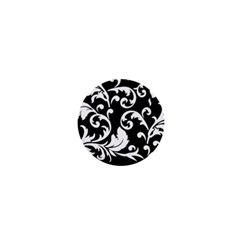 Vector Classical Traditional Black And White Floral Patterns 1  Mini Buttons