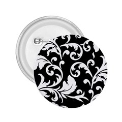 Vector Classical Traditional Black And White Floral Patterns 2 25  Buttons