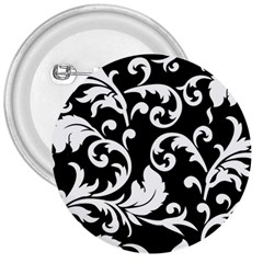 Vector Classical Traditional Black And White Floral Patterns 3  Buttons