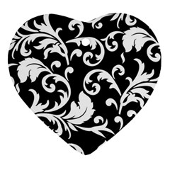 Vector Classical Traditional Black And White Floral Patterns Ornament (heart)