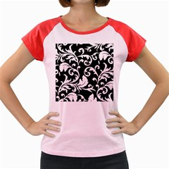 Vector Classical Traditional Black And White Floral Patterns Women s Cap Sleeve T Shirt