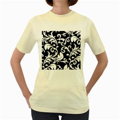 Vector Classical Traditional Black And White Floral Patterns Women s Yellow T Shirt