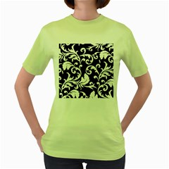 Vector Classical Traditional Black And White Floral Patterns Women s Green T Shirt