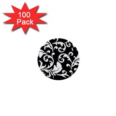 Vector Classical Traditional Black And White Floral Patterns 1  Mini Buttons (100 Pack)