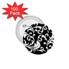 Vector Classical trAditional Black And White Floral Patterns 1.75  Buttons (100 pack)
