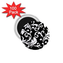 Vector Classical Traditional Black And White Floral Patterns 1 75  Magnets (100 Pack)
