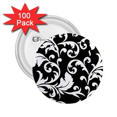 Vector Classical Traditional Black And White Floral Patterns 2 25  Buttons (100 Pack)