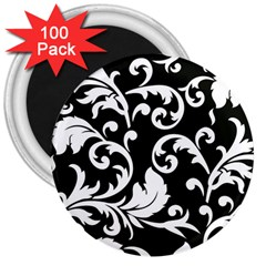 Vector Classical trAditional Black And White Floral Patterns 3  Magnets (100 pack)