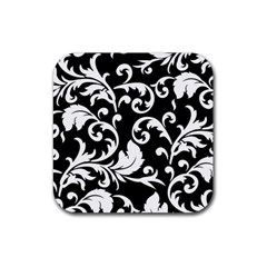 Vector Classical Traditional Black And White Floral Patterns Rubber Coaster (square)
