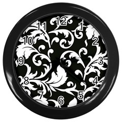 Vector Classical trAditional Black And White Floral Patterns Wall Clocks (Black)