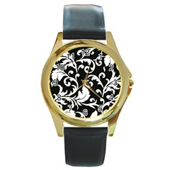 Vector Classical Traditional Black And White Floral Patterns Round Gold Metal Watch
