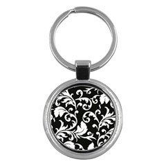 Vector Classical trAditional Black And White Floral Patterns Key Chains (Round)