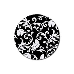 Vector Classical Traditional Black And White Floral Patterns Rubber Round Coaster (4 Pack)