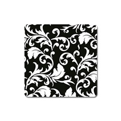Vector Classical Traditional Black And White Floral Patterns Square Magnet