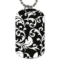 Vector Classical trAditional Black And White Floral Patterns Dog Tag (One Side)