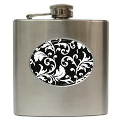 Vector Classical trAditional Black And White Floral Patterns Hip Flask (6 oz)