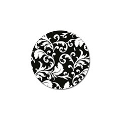 Vector Classical Traditional Black And White Floral Patterns Golf Ball Marker