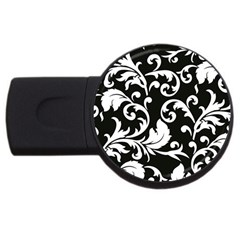 Vector Classical Traditional Black And White Floral Patterns Usb Flash Drive Round (2 Gb)