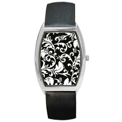 Vector Classical Traditional Black And White Floral Patterns Barrel Style Metal Watch