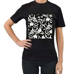 Vector Classical trAditional Black And White Floral Patterns Women s T-Shirt (Black) (Two Sided)