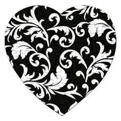 Vector Classical Traditional Black And White Floral Patterns Jigsaw Puzzle (heart)