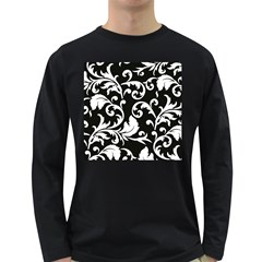 Vector Classical Traditional Black And White Floral Patterns Long Sleeve Dark T Shirts