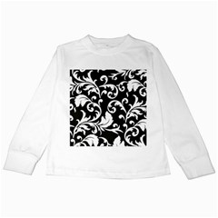 Vector Classical Traditional Black And White Floral Patterns Kids Long Sleeve T Shirts