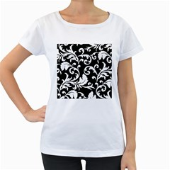 Vector Classical Traditional Black And White Floral Patterns Women s Loose Fit T Shirt (white)