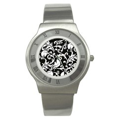 Vector Classical Traditional Black And White Floral Patterns Stainless Steel Watch