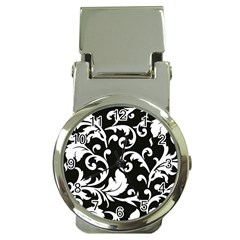 Vector Classical Traditional Black And White Floral Patterns Money Clip Watches