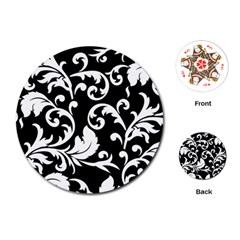 Vector Classical trAditional Black And White Floral Patterns Playing Cards (Round)