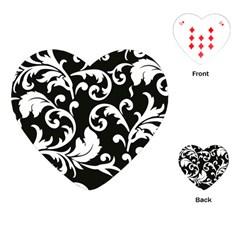 Vector Classical Traditional Black And White Floral Patterns Playing Cards (heart)