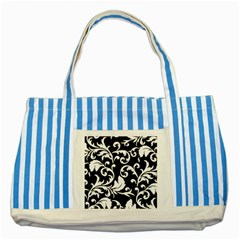 Vector Classical trAditional Black And White Floral Patterns Striped Blue Tote Bag