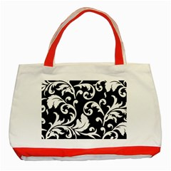 Vector Classical Traditional Black And White Floral Patterns Classic Tote Bag (red)