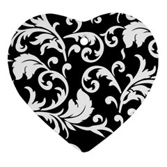 Vector Classical trAditional Black And White Floral Patterns Heart Ornament (Two Sides)
