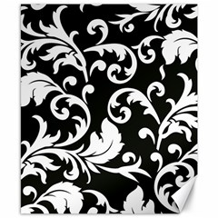 Vector Classical trAditional Black And White Floral Patterns Canvas 8  x 10
