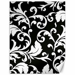 Vector Classical Traditional Black And White Floral Patterns Canvas 12  X 16