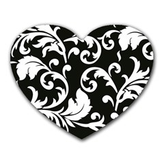 Vector Classical Traditional Black And White Floral Patterns Heart Mousepads