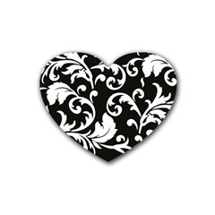 Vector Classical Traditional Black And White Floral Patterns Rubber Coaster (heart)