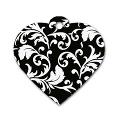 Vector Classical Traditional Black And White Floral Patterns Dog Tag Heart (two Sides)