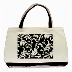 Vector Classical Traditional Black And White Floral Patterns Basic Tote Bag (two Sides)