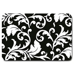Vector Classical Traditional Black And White Floral Patterns Large Doormat