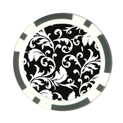 Vector Classical Traditional Black And White Floral Patterns Poker Chip Card Guard