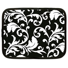 Vector Classical Traditional Black And White Floral Patterns Netbook Case (large)