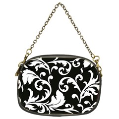 Vector Classical trAditional Black And White Floral Patterns Chain Purses (Two Sides)