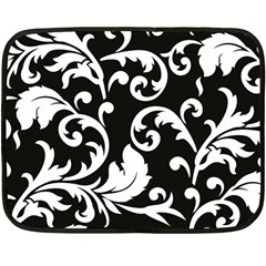 Vector Classical Traditional Black And White Floral Patterns Double Sided Fleece Blanket (mini)