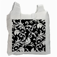Vector Classical trAditional Black And White Floral Patterns Recycle Bag (Two Side)